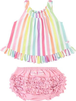 RuffleButts Rainbow Stripe Swing Top & Bloomers