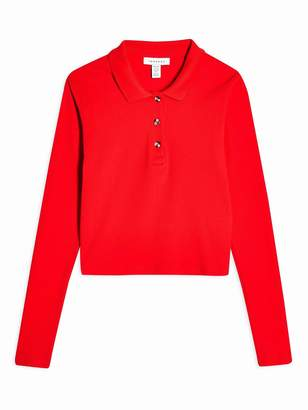 Topshop Petite Button Front Polo Shirt - Red