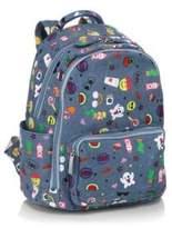 Bari Lynn Mini Emoji Print Cotton Backpack