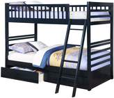 True Contemporary Navy Twin over Twin Bunk Bed with Storage Drawers