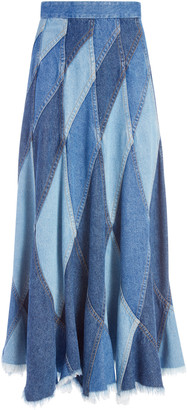 Alice + Olivia Pierre Patchwork Midi Skirt