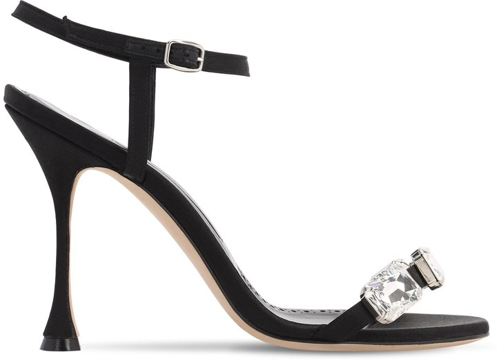 Thumbnail for your product : Manolo Blahnik 105mm Nafud Satin Sandals