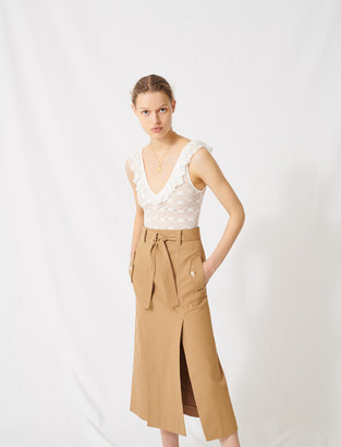 Maje Lace bodysuit with ruffled neckline