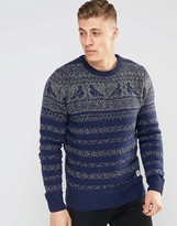 Bellfield Knitted Sweater with Bird Jacquard