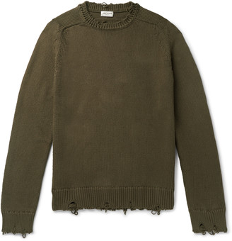 Saint Laurent Slim-Fit Distressed Cotton Sweater