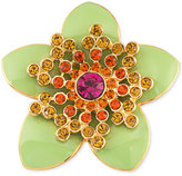 Carolee Gold-Tone Green Enamel Multi-Crystal Flower Pin