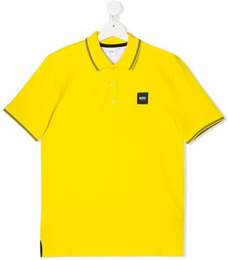 Boss Kidswear Logo Patch Stripe Detail Polo Shirt