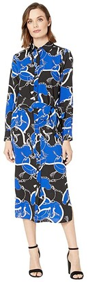 Lauren Ralph Lauren Belted Crepe Shirtdress (Blue Glacier Multi) Women's Clothing