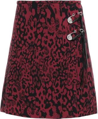 Versace Wrap-effect Embellished Leopard-print Crepe Mini Skirt