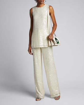 Sally LaPointe Sequined Sleeveless Shift Tank