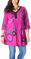 Aller Simplement Pink & Black Abstract Henna Empire Waist Dress - Plus