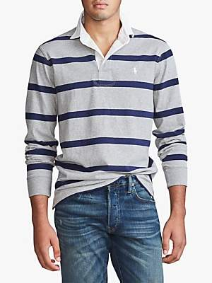 Ralph Lauren Polo Stripe Rugby Polo Shirt, Andover Heather/Newport Navy