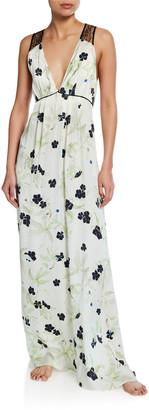 Violet & Wren Floral-Print V-Neck Lace-Back Silk Satin Gown