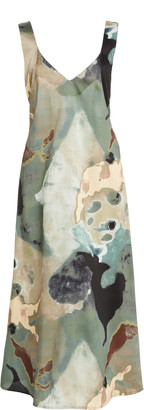 Beaufille Rohe Printed Crepe De Chine Midi Dress