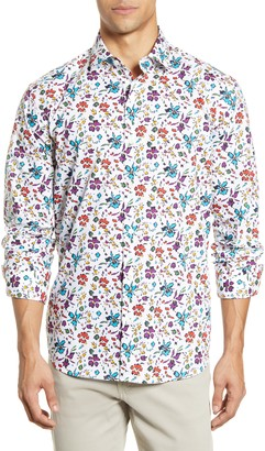 Bugatchi Shaped Fit Floral Button-Up Shirt