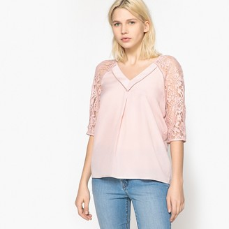 La Redoute Collections V-Neck Blouse with 3/4 Length Lace Sleeves