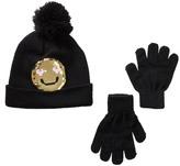 Capelli of New York Sequin Love Face Reversible Beanie & Gloves Set (Little Girls & Big Girls)