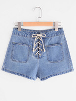 Shein Patch Pocket Front Lace Up Denim Shorts