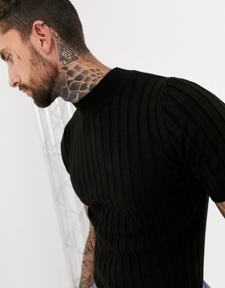 ASOS DESIGN knitted ribbed turtle t-shirt in black