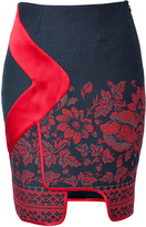 Prabal Gurung Piped Border Panel Skirt in Red Floral Print