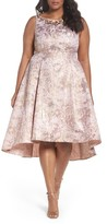 Adrianna Papell Plus Size Women's Embellished Metallic Jacquard Party Dress