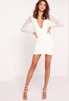 Missguided Plunge Faux Leather Trim Bodycon Dress White
