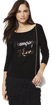 """New York & Co. Sequin """"Champagne Kisses"""" Sweater"""