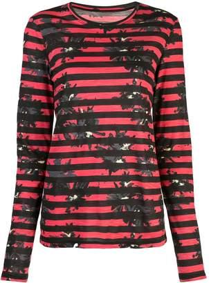 Proenza Schouler Striped Splatter Floral Long Sleeve T-Shirt