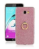 Moonmini Samsung Galaxy A9 (2016) A9000 Case Cover Sparkling Slim Fit Soft TPU Back Case Cover with Ring Grip Stand Holder 2 in 1 Hybrid Glitter Bling Bling TPU phone Case Cover (Pink)