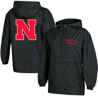 Champion Women's Black Nebraska Cornhuskers Packable Half-Zip Light Rain Jacket