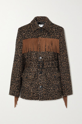 Saint Laurent Belted Fringed Leopard Wool-blend Jacquard Jacket - Brown
