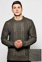 boohoo Mens Crew Neck Jumper With Cable Knit Front
