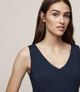 Reiss Ona - V-neck Tank Top in Blue, Womens