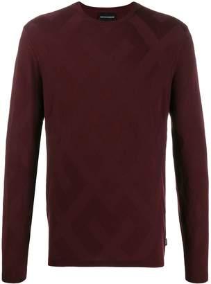 Emporio Armani geometric-woven knit jumper