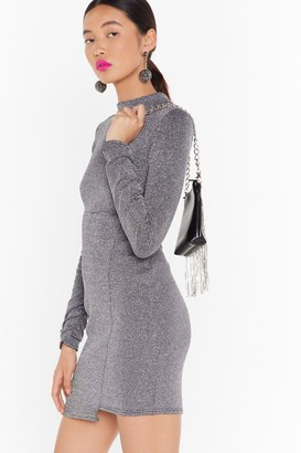 Nasty Gal Womens The Disco Needs You Glitter Mini Dress - grey - 4