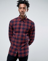 Jack Wills Salcombe Plaid Shirt In Regular Fit In Flannel Red/Navy