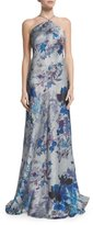 Theia Sleeveless Floral-Print Halter A-line Gown