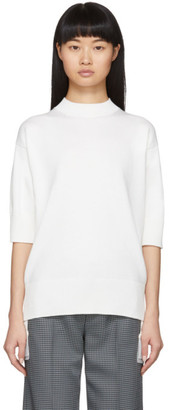 Sacai White Chiffon Hem Sweater