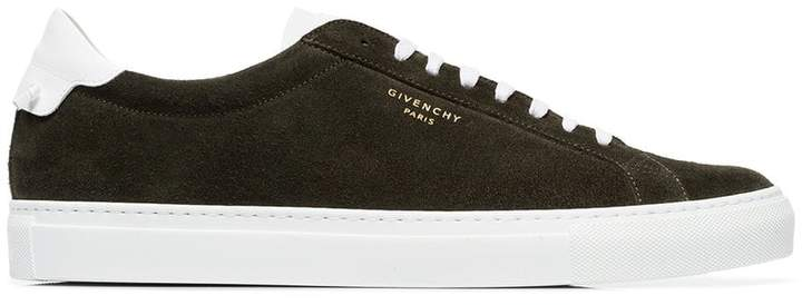 Givenchy green low bicolour suede leather sneakers