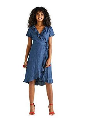 Yumi Frill Wrap Denim Dress Short Sleeve Wrap Waist 1cm Length