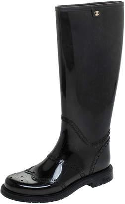 Gucci Black Rubber Aberdeen Brogue Detail Mid Calf Rain Boots Size 35