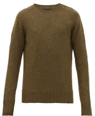 Prada Ribbed Trim Virgin Wool Sweater - Mens - Green