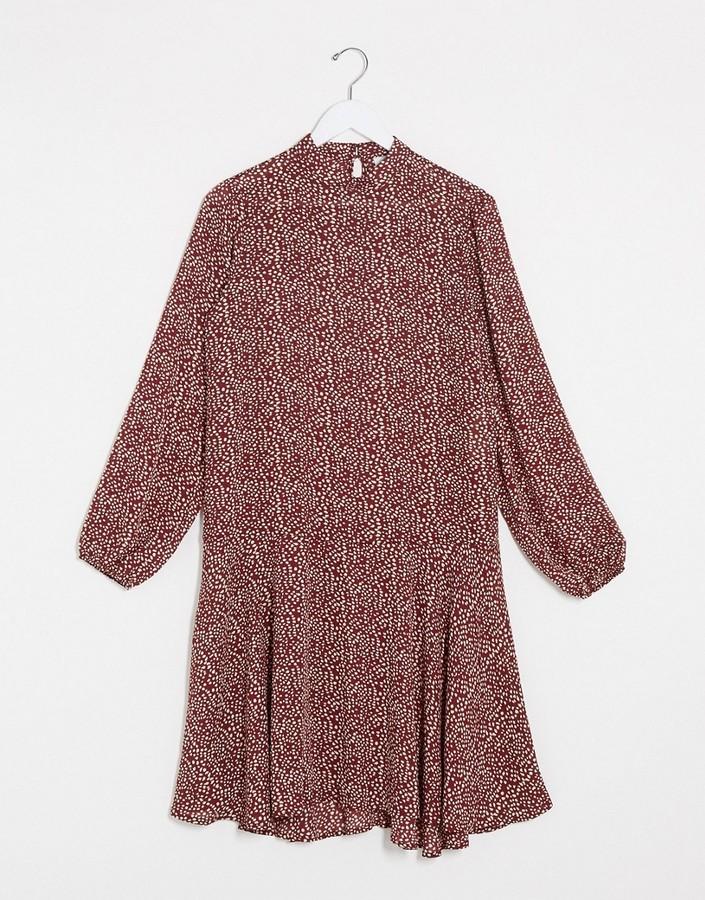 Vila high neck swing dress in brown