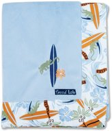 Trend Lab 102143 Receiving Blanket- 278C Velour With Surfboard Percale Trim & Surfboard-Flower-Lizard Applique