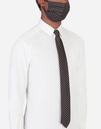 Dolce & Gabbana Polka-Dot Jacquard Face Mask And Tie Set
