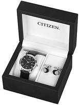 Citizen Aw1231-07e Set Date Leather Strap Watch And Cufflinks Gift Set, Black