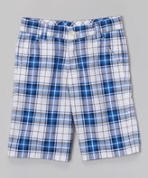 E-Land Kids Henley Blue Plaid Shorts - Toddler & Boys