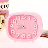 FLOSI(TM)Small Rectangle Quartz Analog Home Decor Latest Generation Desktop Gift Battery Operated Digital Bedside Lazy Snooze Silent Alarm Clock For Children/Student/Kids(Pink)