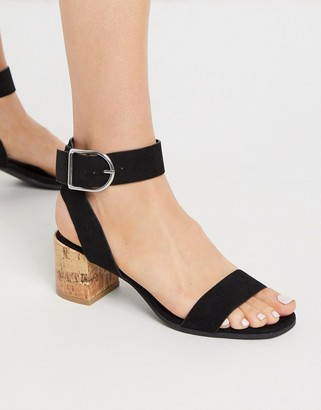 Qupid mid block heel sandals in black
