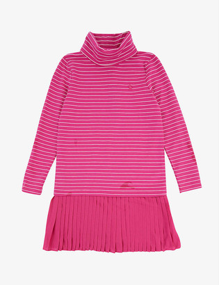 Ralph Lauren Logo-embroidered striped stretch-cotton dress